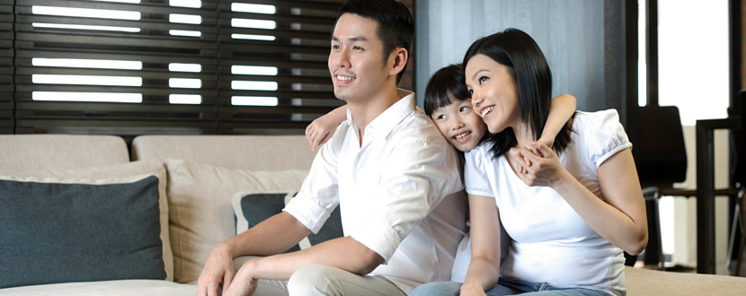 happy asian family of three - man, woman, and daughter - SingSaver