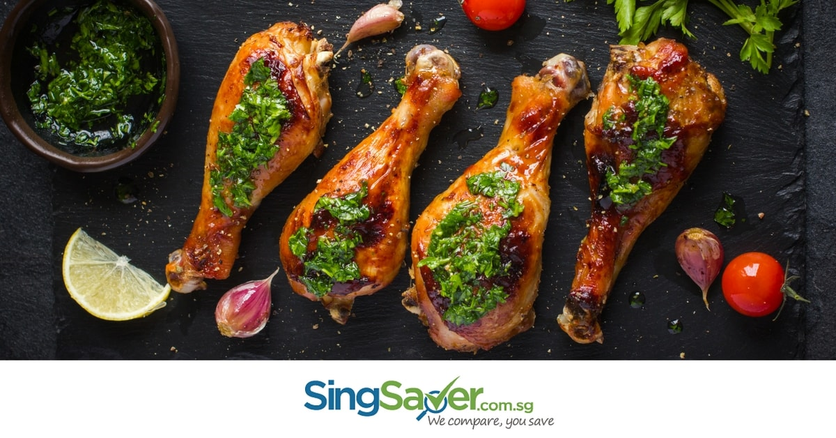 a display of 4 cooked chicken drumsticks - SingSaver