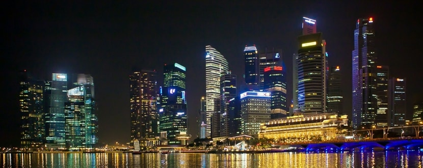 singapore development skyline at night