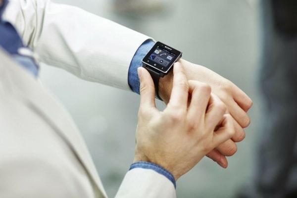 man wearing a smartwatch