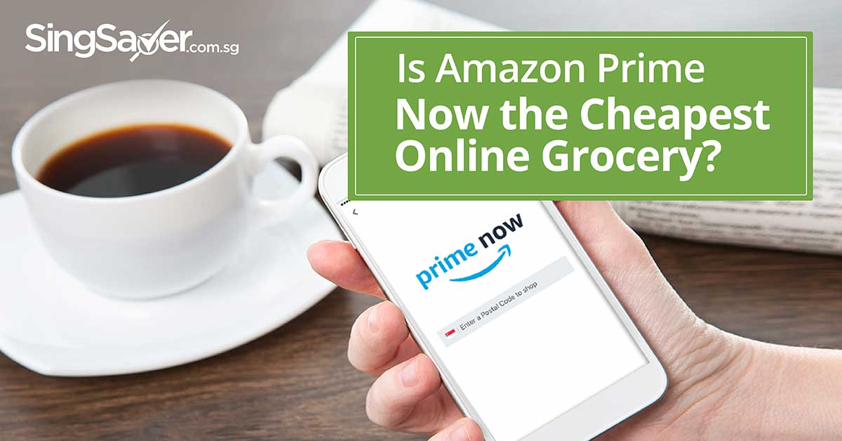 person holding mobile phone with amazon prime now