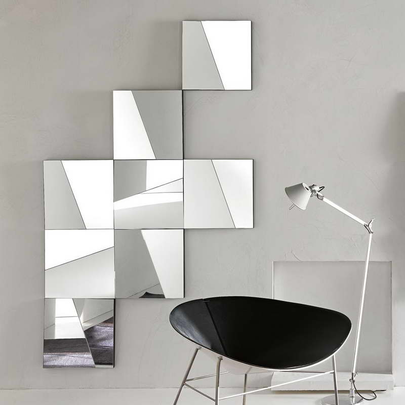 cool wall mirror with modern chairs
