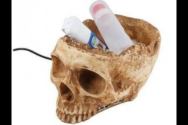 usb skull head container