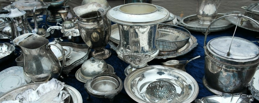 street auction at a flea market for silverware