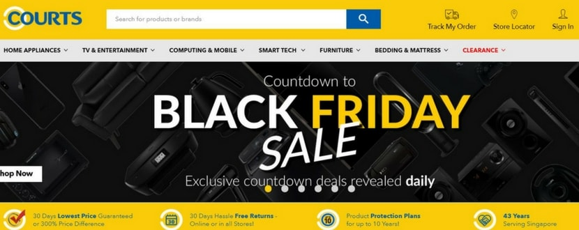 Black Friday sales on Courts online store