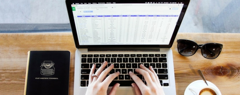 person using spreadsheet with laptop - SingSaver
