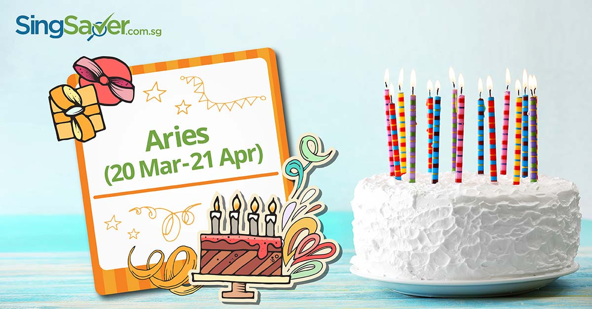 A birthday cake with 15 candles for Aries-born - SingSaver