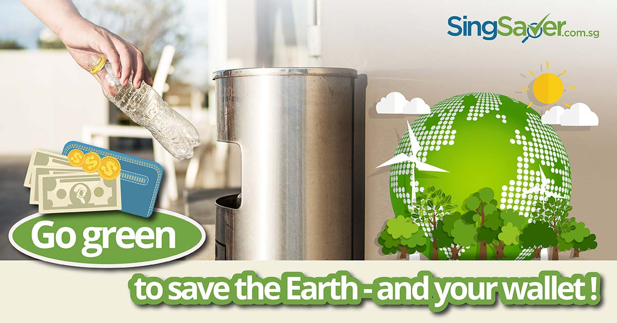person disposing plastic bottle into recycle bin to save the earth - SingSaver