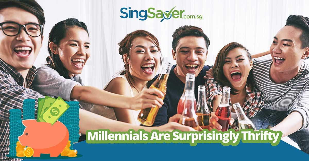 group of 6 friends clinking bottles to drink - SingSaver