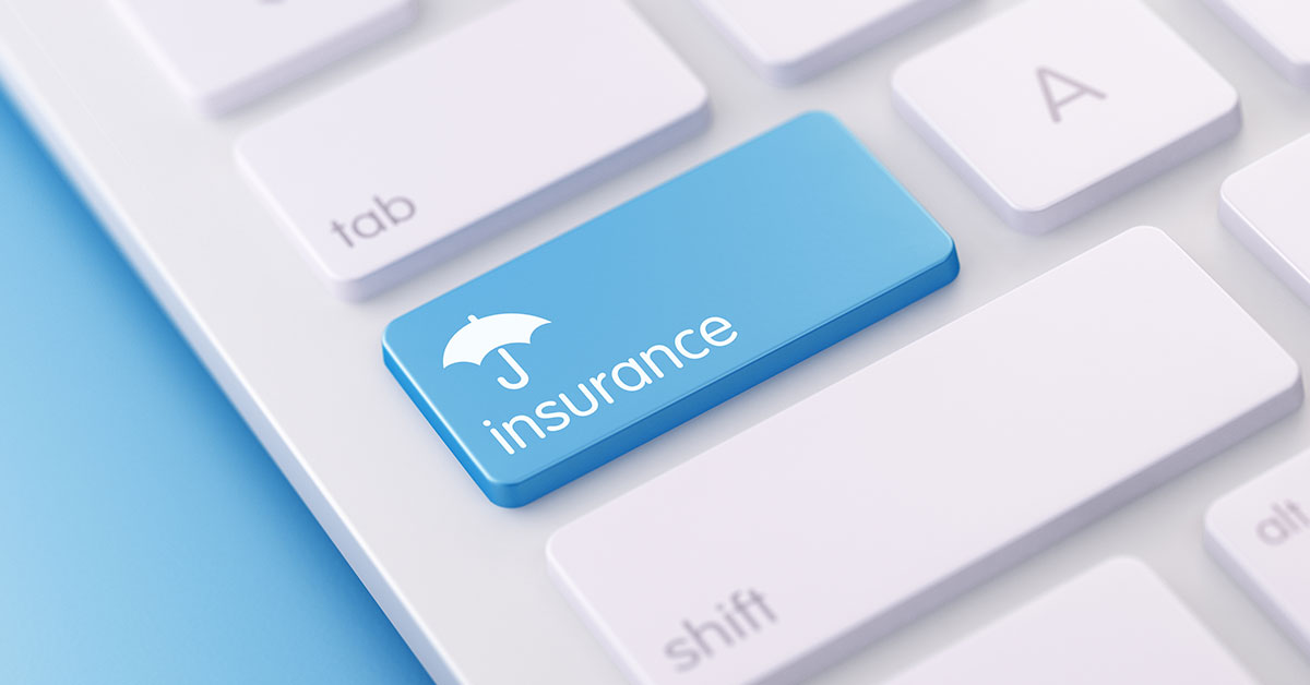 Insurance icon on a keyboard