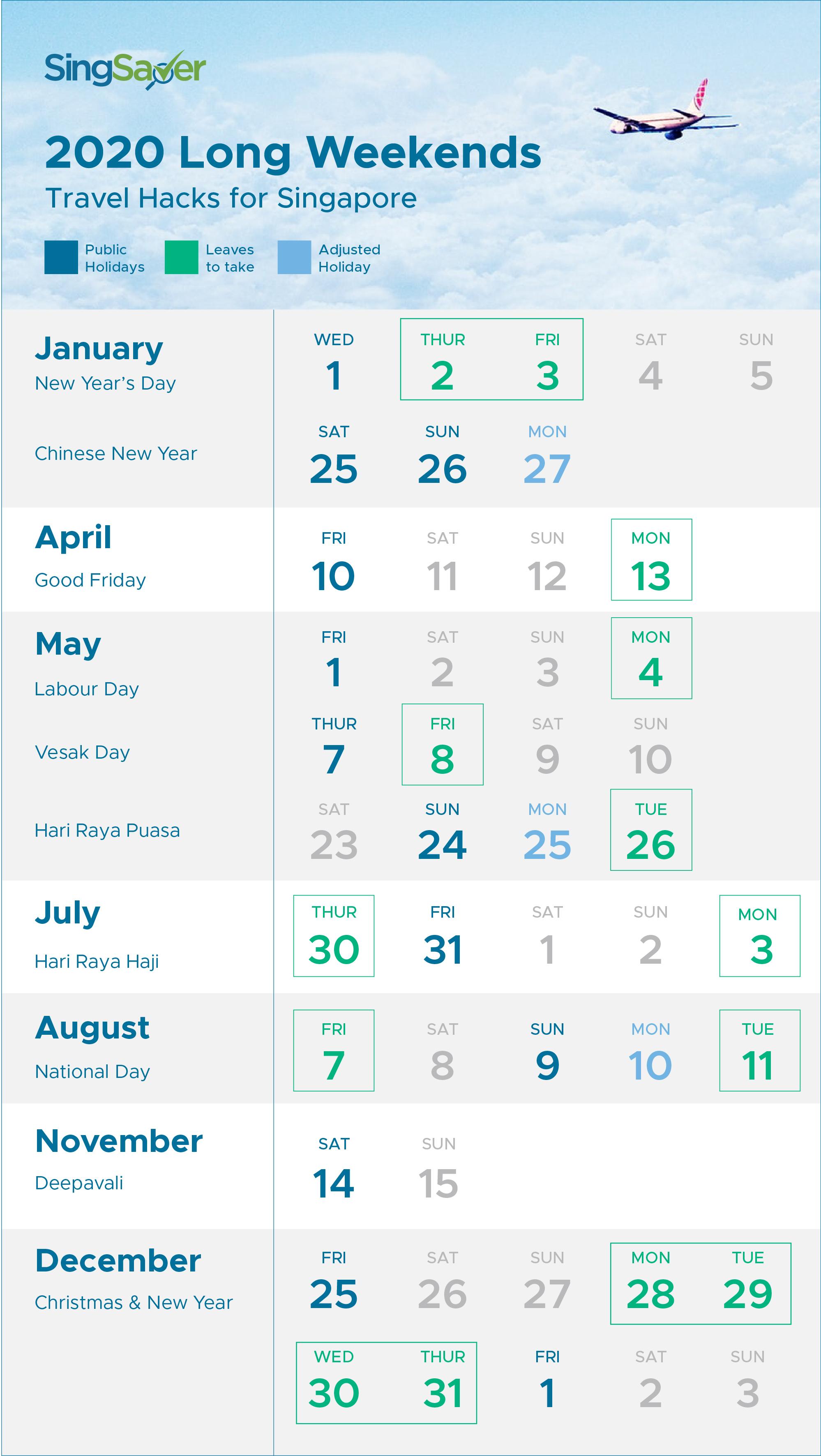 Public Holidays 2020 Long Weekends Singapore
