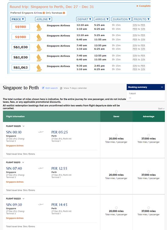 Round Trip: Singapore to Perth